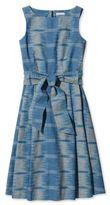 L.L. Bean Signature Poplin Dress, Chambray Ikat Print