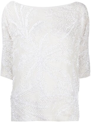 P.A.R.O.S.H. Embellished Short-Sleeve Top