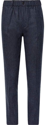 Incotex Navy Slim-Fit Melange Stretch Virgin Wool And Cashmere-Blend Trousers