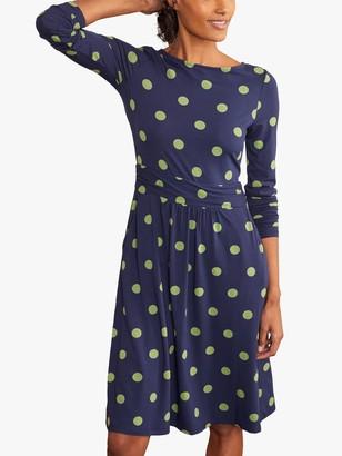 Boden Abigail Polka Dot Knee Length Dress, Navy