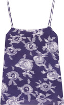 Equipment Cara printed washed-silk camisole