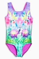 Next Girls Cockatoo Print Swimsuit (3-16yrs) - Purple