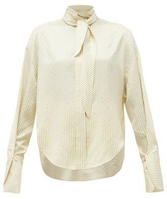 Petar Petrov Cruz Tie-neck Satin-striped Silk Blouse - Womens - Ivory Multi