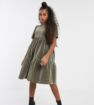 One Above Another tiered midi dress in sparkle fabric