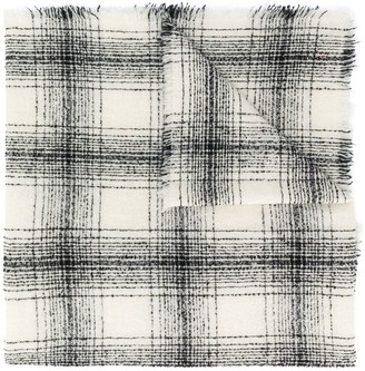Faliero Sarti Plaid Check Frayed Scarf