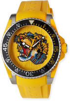 Gucci Men's 40mm Dive Tiger Watch w/ Rubber Strap, Yellow