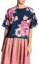 Flying Tomato Tiered Ruffle Sleeve Floral Blouse