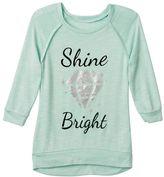 Miss Chievous Girls 7-16 & Plus Size Hatchi Raglan Glitter Graphic Top