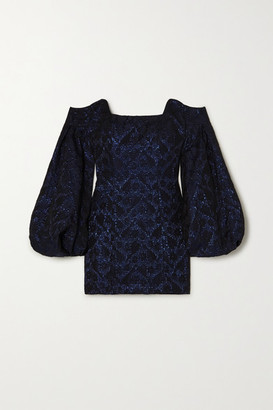 NERVI Tina Off-the-shoulder Metallic Floral-jacquard Mini Dress - Navy