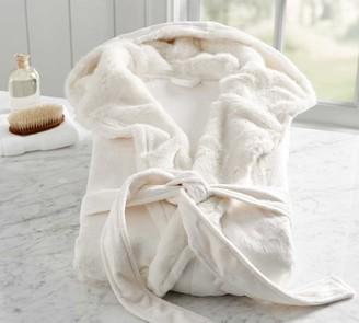 Pottery Barn Ivory Alpaca Faux Fur Robe