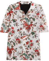 McQ Floral-print Georgette And Crepe De Chine Shirt
