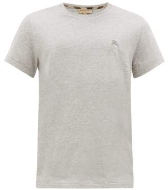 Burberry Logo-embroidered Cotton T-shirt - Mens - Grey