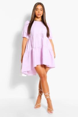 boohoo Oversized Puff Sleeve Smock Dress