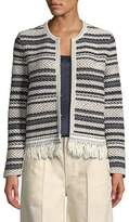 Tory Burch Payton Striped-Tweed Cardigan