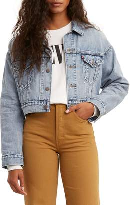Levi's Premium Denim Cropped Dad Trucker Jacket