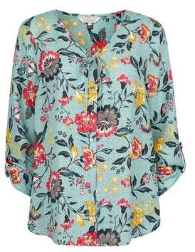 Dorothy Perkins Womens **Billie & Blossom Sage Floral Print Button Top