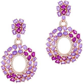 8.45 cttw Grape Garnet & Amethyst Dangle Earrings, Sterling