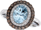 LeVian Le Vian Chocolatier® Aquamarine (1-3/8 ct. t.w.) and Diamond (1/2 ct. t.w.) Ring in 14k White Gold
