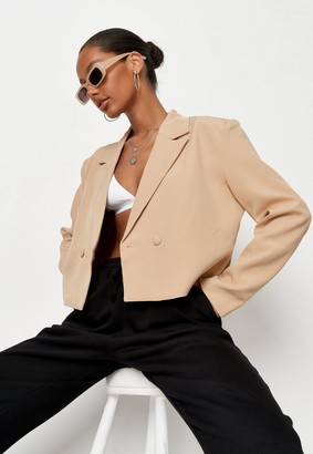 Missguided Beige Co Ord Tailored Cropped Blazer