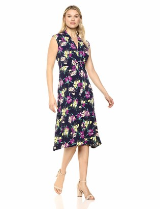 Chaus Women's Cap SLV Knot Front Cabana Bloom Dress