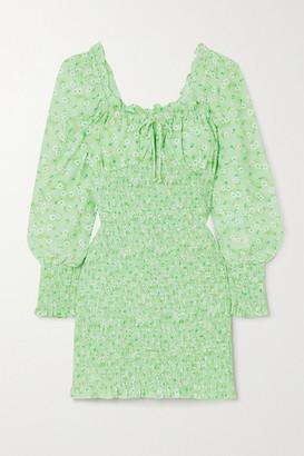 Faithfull The Brand Net Sustain Cosima Shirred Floral-print Crepe Mini Dress - Mint