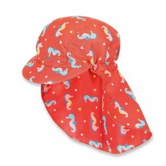 Sterntaler Girls Peaked Cap for Girls with Neck Protection Age: 9-12 Months Size: 47 cm Coral Red