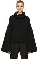 Jil Sander Black Bell Sleeve Turtleneck