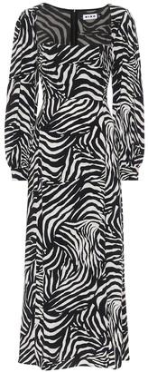 Rixo Mara zebra-print midi dress