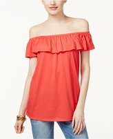 MICHAEL Michael Kors Off-The-Shoulder Peasant Top