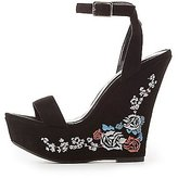 Charlotte Russe Embroidered Two-Piece Wedge Sandals