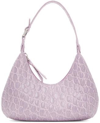 BY FAR Purple Croc Baby Amber Bag