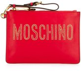 Moschino stud embellished logo clutch - women - Leather - One Size
