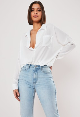 Missguided White Oversized Plunge Tunic