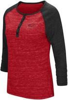 Colosseum Women's Heathered Cardinal Arkansas Razorbacks Slopsestyle Three-Quarter Sleeve Henley T-Shirt