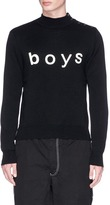 Comme des Garcons 'Boys' print mock neck sweater