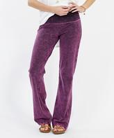 Lydiane Women's Yoga Pants PLUM - Plum Mineral Wash Fold-Over Flare Bottom Yoga Pants - Women