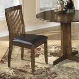 Bentley Upholstered Slat Back Side Chair on Medium Brown (Set of 2) Loon Peak