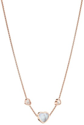 Chopard Happy Hearts 18K Rose Gold, Mother-Of-Pearl & Diamond Necklace