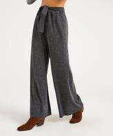 Suzanne Betro Weekend Women's Casual Pants 102CHARCOAL - Charcoal Tie-Front Wide-Leg Pants - Women & Plus