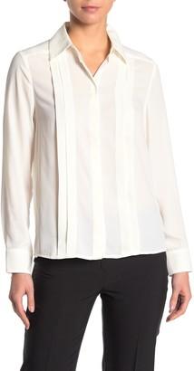 Nanette Lepore Pleated Hidden Placket Long Sleeve Shirt