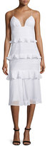 Cushnie et Ochs Sleeveless Tiered-Eyelet Bustier Dress, White