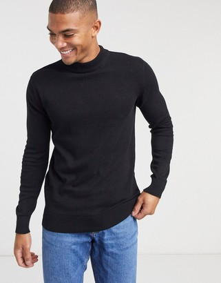 Brave Soul 100% cotton turtle high neck sweater in black