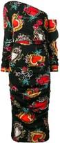 Dolce & Gabbana heart print midi dress