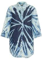 Raquel Allegra Tie-dye cotton and linen-blend shirt