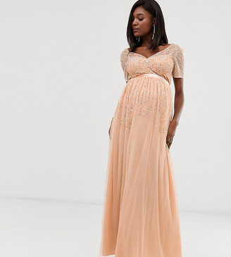 Maya Maternity mesh all over scattered sequin pleated maxi dress in soft peach-Pink