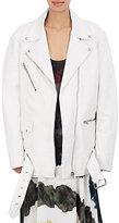 Acne Studios Women's Myrtle Leather Oversized Moto Jacket-WHITE