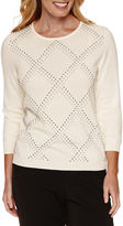 Alfred Dunner 3/4 Sleeve Crew Neck Pullover Sweater
