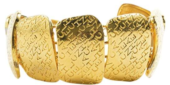 Chanel Gold Tone Metal Engraved Brand Name Link Plates Bracelet