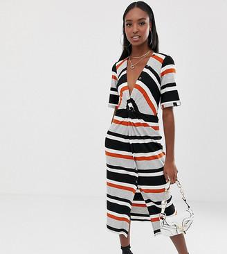 Asos DESIGN Tall stripe rib twist front midi dress with button detail