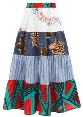 RIANNA + NINA Kendima Printed Cotton-volant Midi Skirt - Blue Multi
